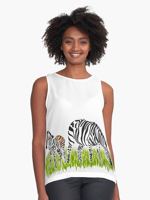 Zebra Sleeveless Chiffon Top