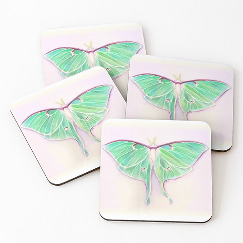 Set of 4 Luna Moth Coasters