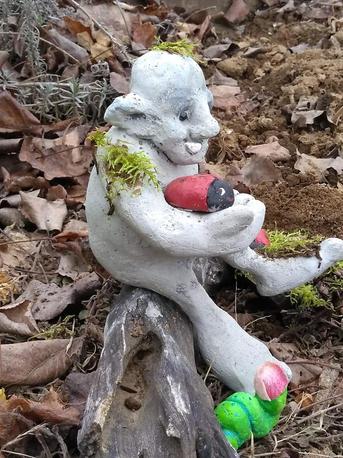 Rock troll garden sculpture