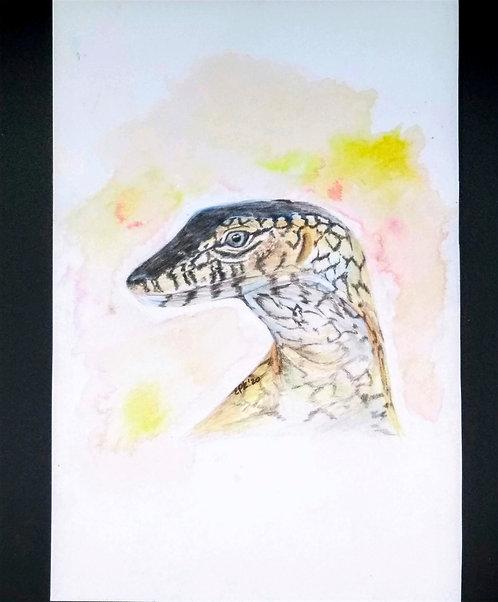Perentie Goanna (monitor lizard) Original colored pencil and india ink portrait