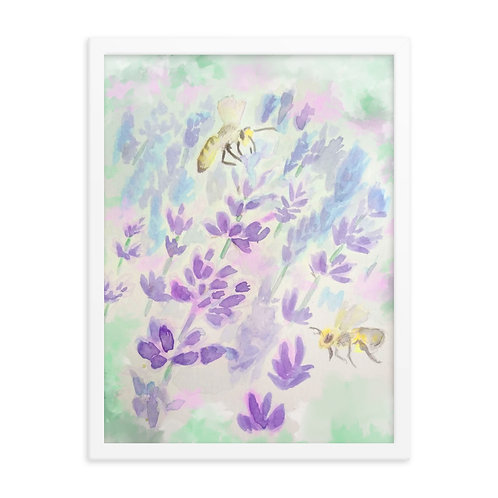 Bees and Lavender Framed Print