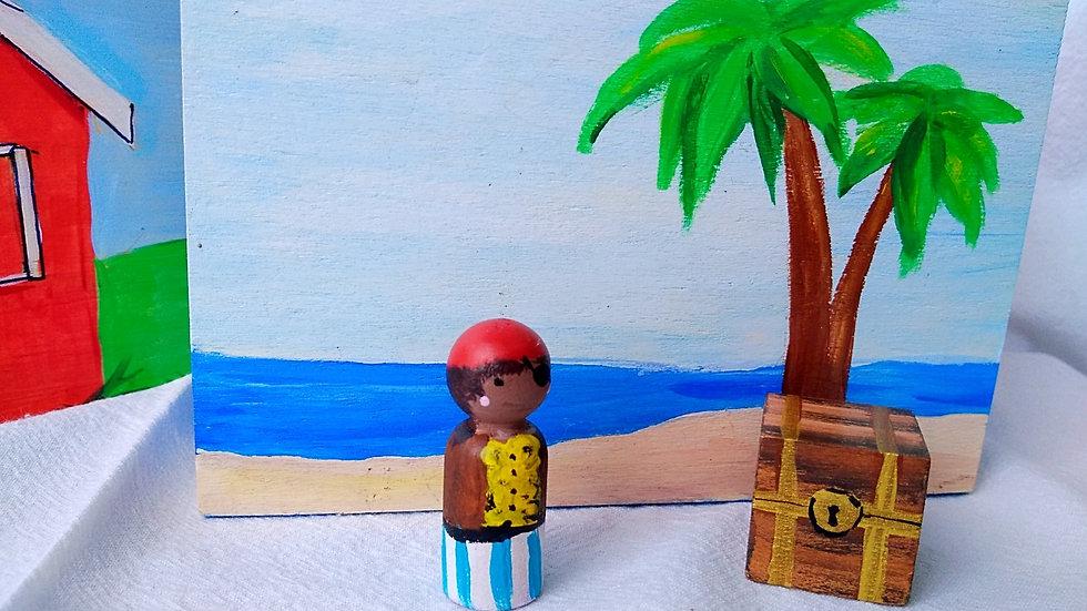Wooden Waldorf-style Story Box - Pirate