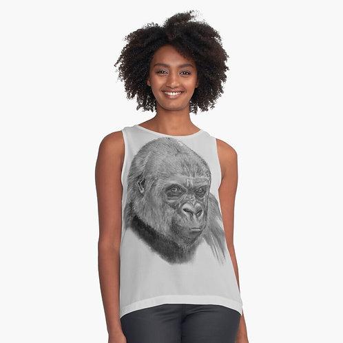 Gorilla Print Sleeveless Chiffon Top