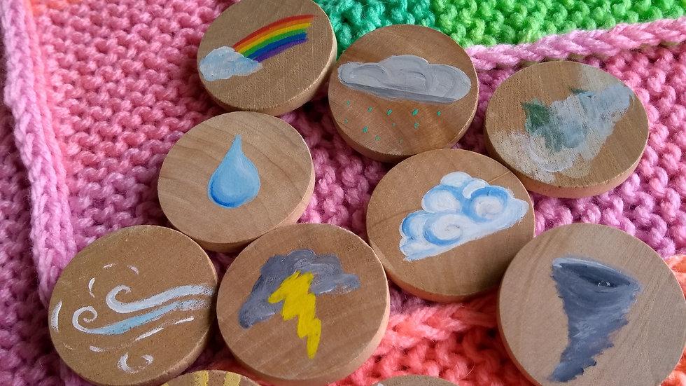 Story tiles, set of ten, assorted weather