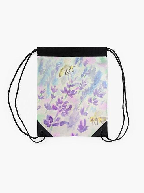 Bees and Lavender Drawstring Bag