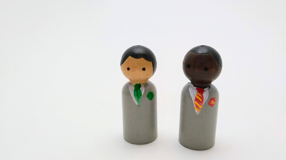 Set of Two Peg People in School Uniforms