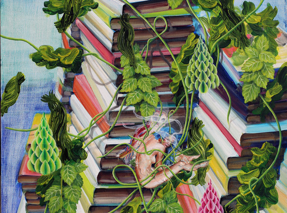 Rhizome book forest 73x61cm oil on canvas 2017-2