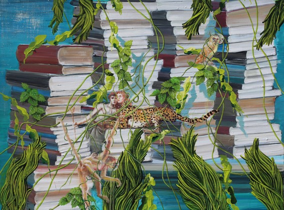 Rhizome book forest 73x91cm oil on canvas 2017-4