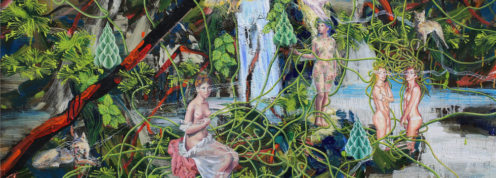 The pond of Veiled Ophelia 100x140cm oil on canvas 2018-9