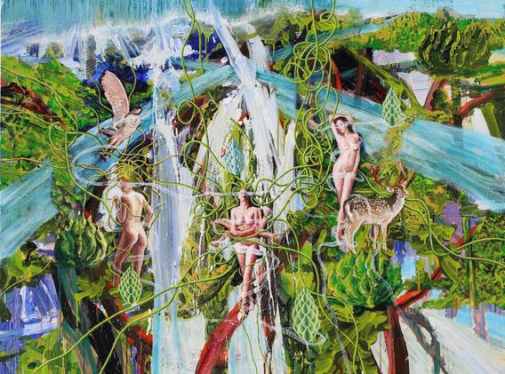 The pond of Veiled Ophelia 162x130cm oil on canvas 2018-8