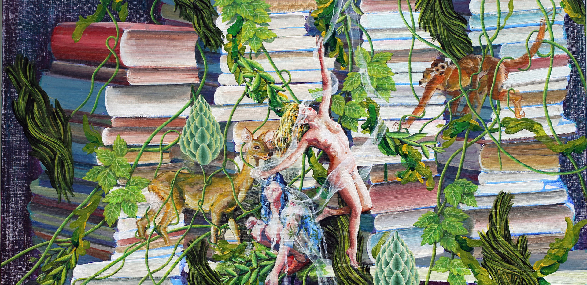Rhizome book forest  61x91cm oil on canvas 2017-1