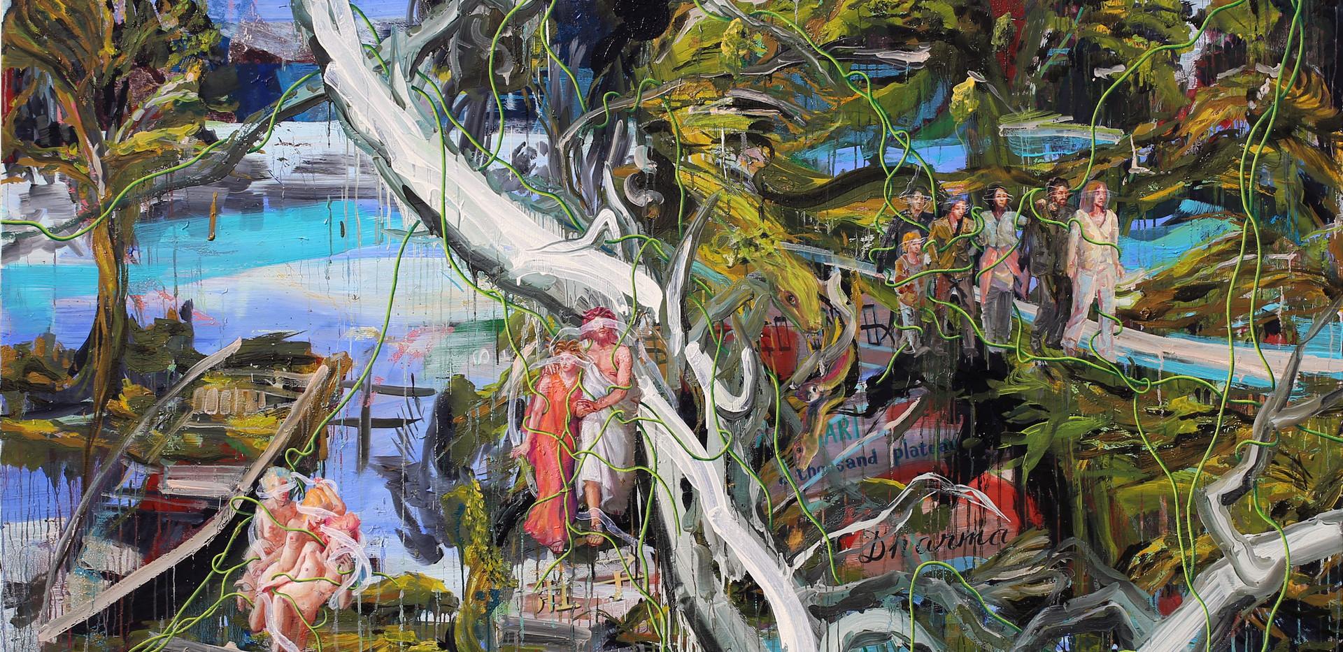 눈먼자의 숲에서 메두사를 보라 Behold Medusa at the forest of the blind 181x227cm oil on canvas 2019-6