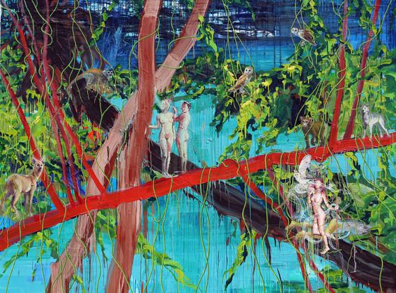 The pond of  Veiled Ophelia 181x227cm oil on canvas 2018-3