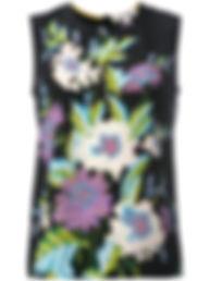 MSGM Milano white tee with silk printed ruffles