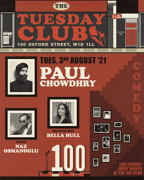 100 CLUB - THE TUESDAY CLUB POSTER