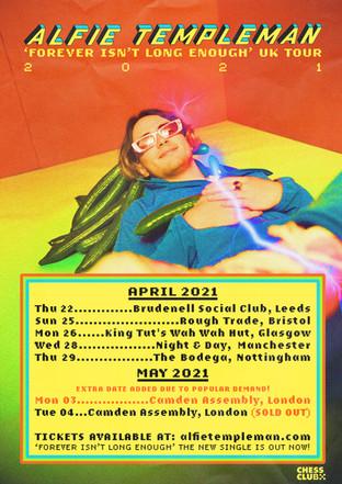 ALFIE TEMPLEMAN UK TOUR 2021 POSTER