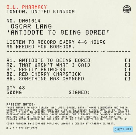 "OSCAR LANG - ANTIDOTE TO BEING BORED (12"" VINYL EP)"