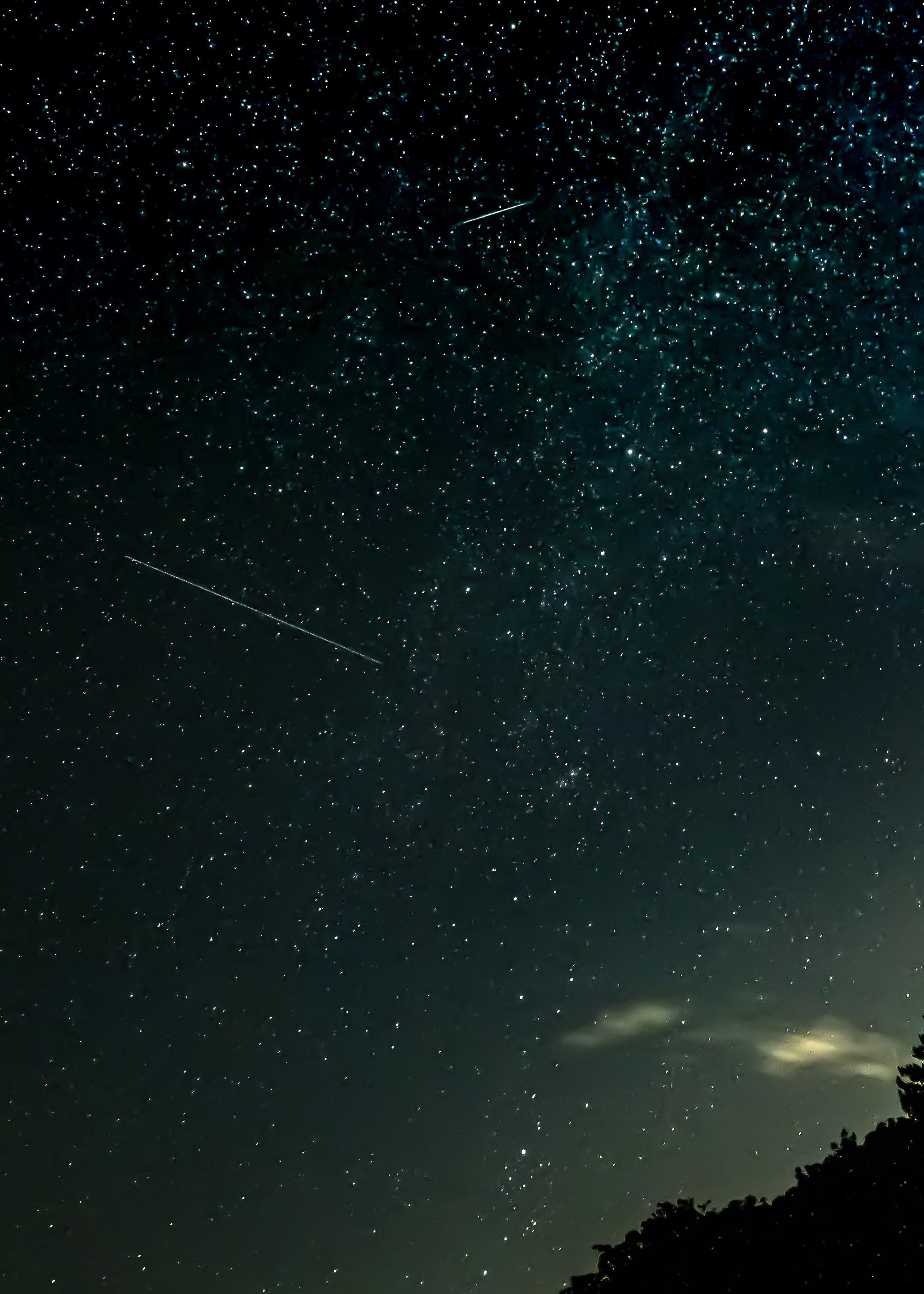 Perseid Meteor + Satellite