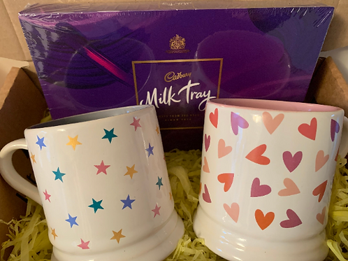 His and Hers Personalised Mugs, Stars and Hearts and a Box of chocolates
