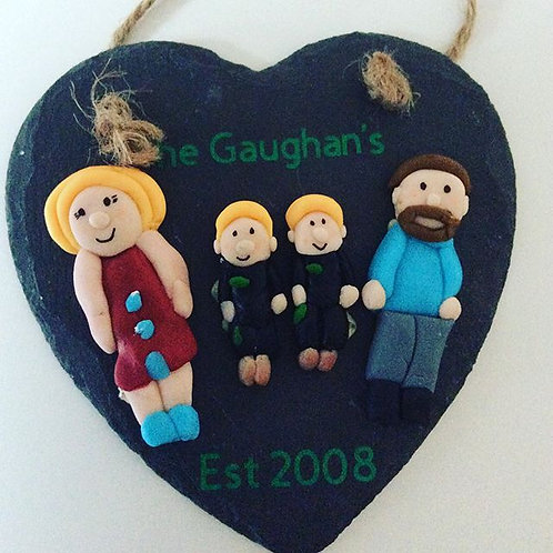 Slate Hearts Family Plaque