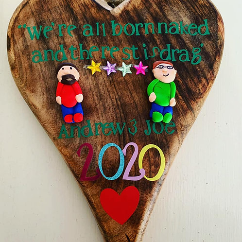 Handmade LGBT Pride Rainbow Plaques, Keepsake Rustic Heat, Your Personalisation,