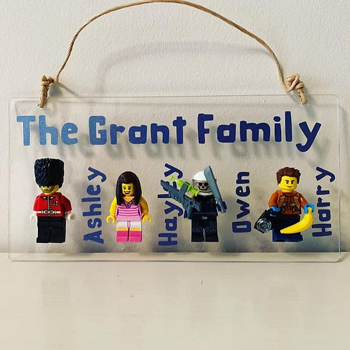 Mini Figures Handmade Plaques, Bespoke For Your Family Personalised