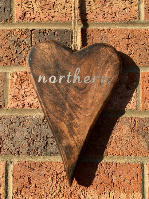 Northern Rustic Heart 17cm Your Home Town, Lock Down Gift, Birthday Gift, Wooden