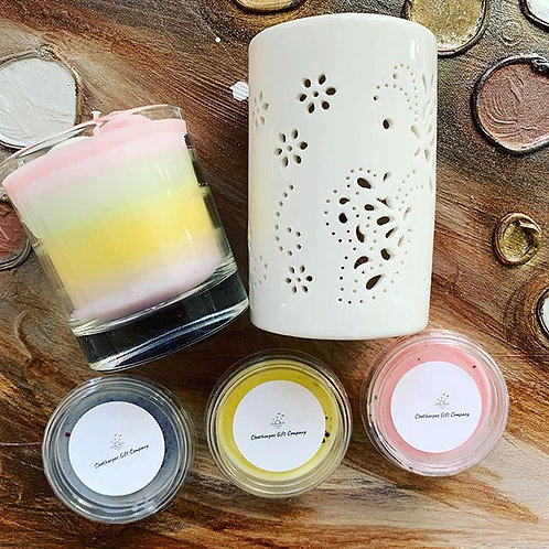 Luxury Gift Box- Rainbow Candle 'Personalised', Butterfly Burner, Three Melts
