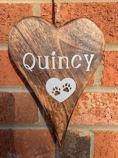 Pet Loss, Pet Bereavement, Rainbow Bridge Gift Rustic Keepsake heart 17cm With Y