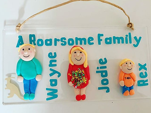 Dinosaur Family Handmade Plaques -Personalised Plaque With Your Choice Of Design