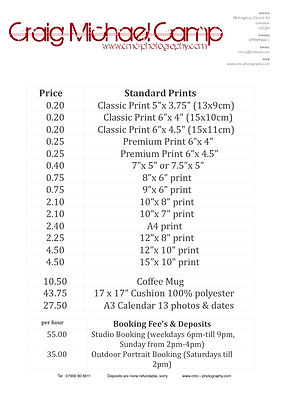 CMC-Photography Pricelist 2016