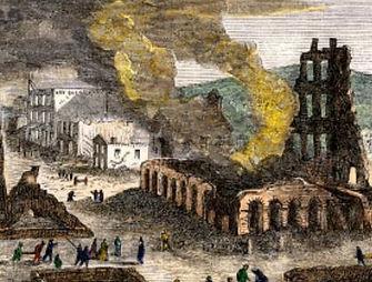 The razing of Lawrence Kansas during Quantrill's Raid