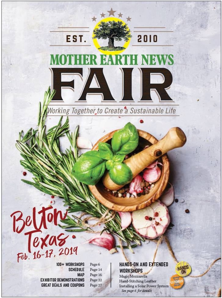 Mother Earth News Fair in Texas poster. Working together to create a sustainable life