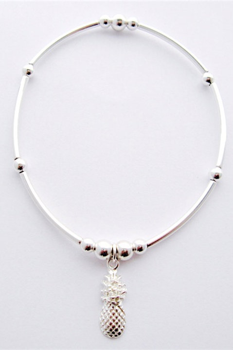 Sterling Silver noodle bracelet with sterling silver pineapple heart charm