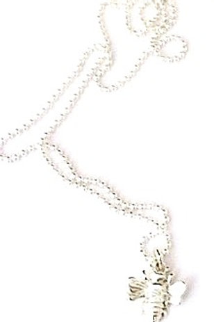 Sterling silver ball chain necklace with Bee Pendant
