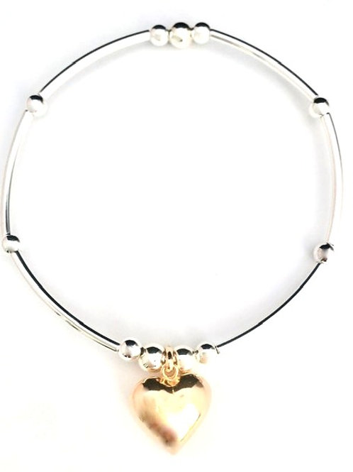 Handmade Sterling Silver noodle bracelet with gold puff heart