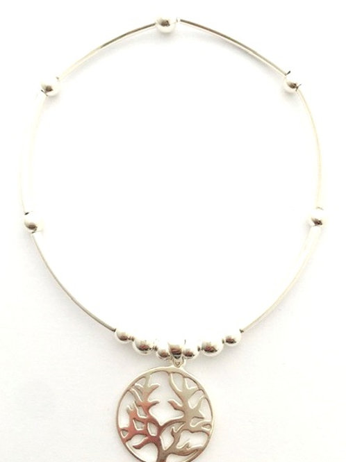 Handmade Sterling Silver noodle bracelet with tree of life charm