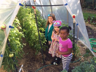 Girls in garden