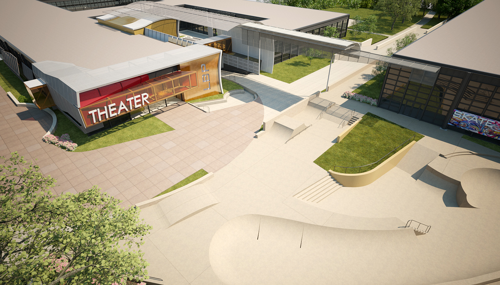 School + Theater Entry