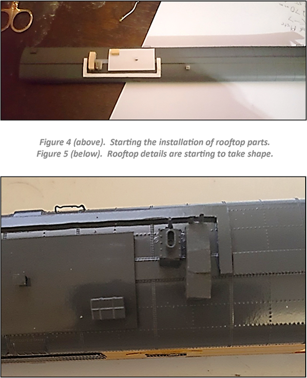 Figure 4 (above).  Starting the installation of rooftop parts. Figure 5 (below).Rooftop details are starting to take shape.