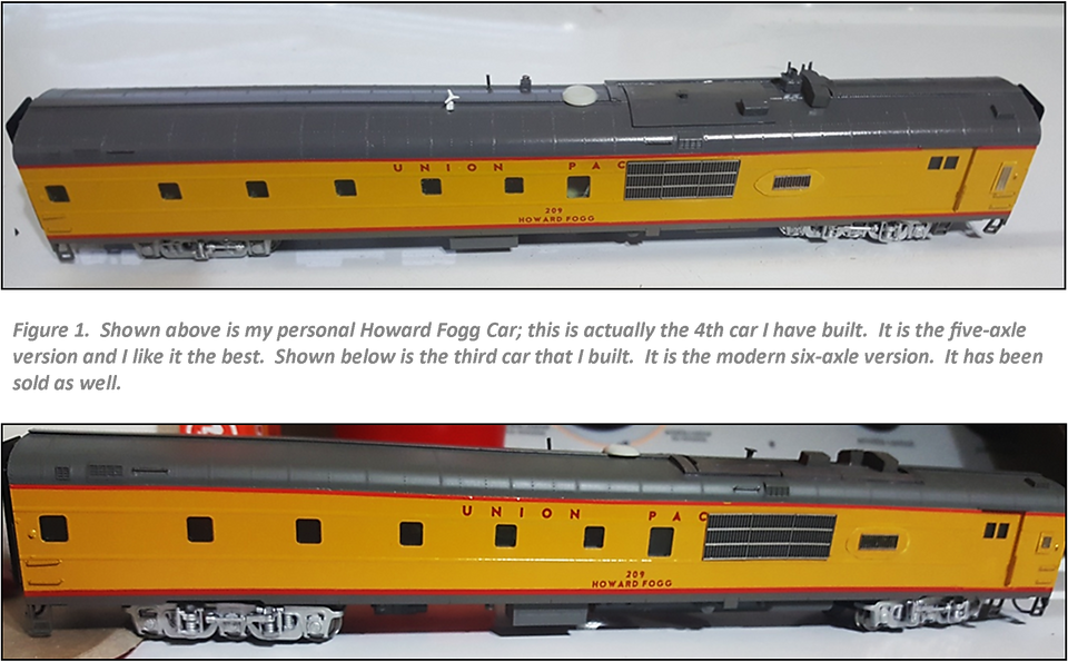 Figure 1.  Shown above is my personal Howard Fogg Car; this is actually the 4th car I have built.  It is the five-axle version and I like it the best.  Shown below is the third car that I built.  It is the modern six-axle version.  It has been sold as well.