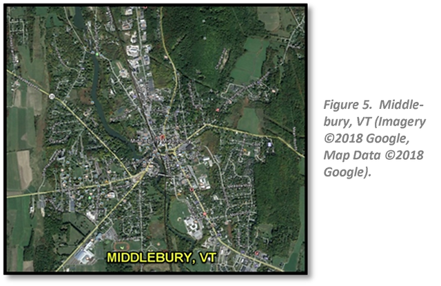 Figure 5.  Middlebury, VT (Imagery ©2018 Google, Map Data ©2018 Google).