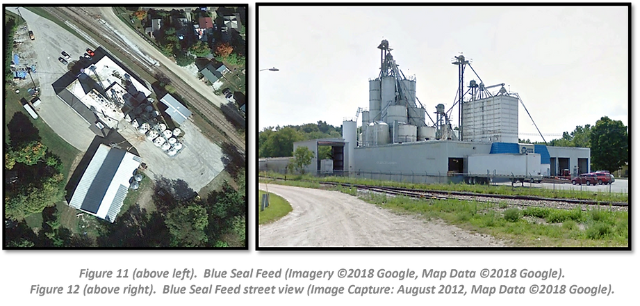 Figure 11 (above left).  Blue Seal Feed (Imagery ©2018 Google, Map Data ©2018 Google). Figure 12 (above right).  Blue Seal Feed street view (Image Capture: August 2012, Map Data ©2018 Google).