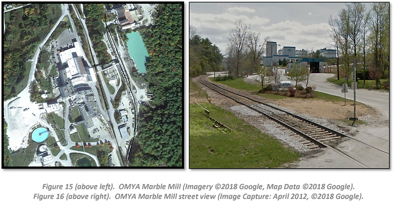 Figure 15 (above left).  OMYA Marble Mill (Imagery ©2018 Google, Map Data ©2018 Google).  Figure 16 (above right).  OMYA Marble Mill street view (Image Capture: April 2012, ©2018 Google).