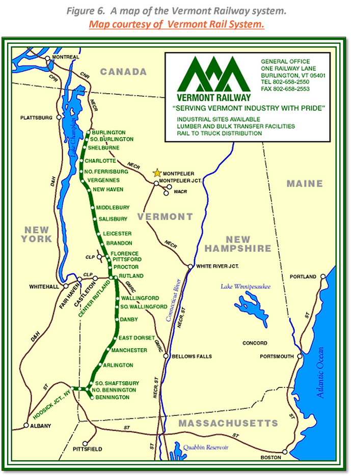 Figure 6.  A map of the Vermont Railway system. Map courtesy of  Vermont Rail System.