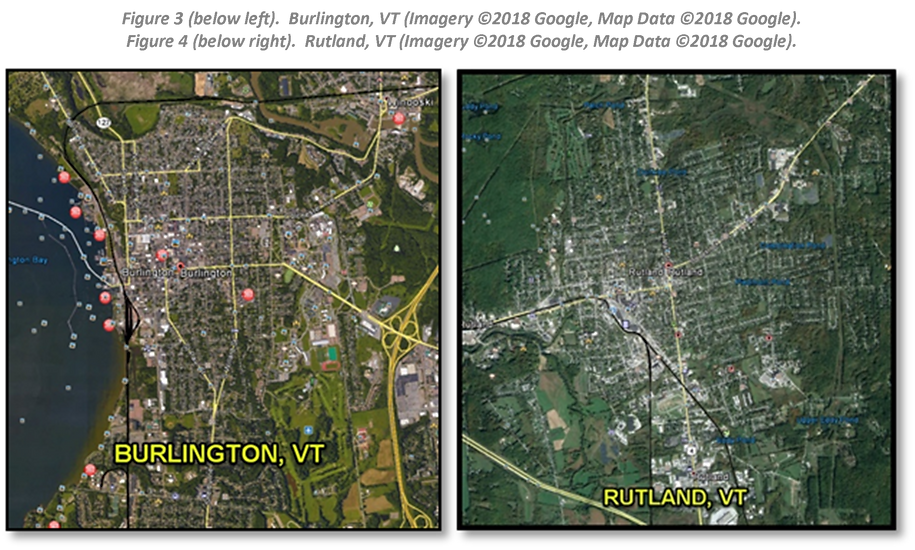 Figure 3 (below left).  Burlington, VT (Imagery ©2018 Google, Map Data ©2018 Google).  Figure 4 (below right).  Rutland, VT (Imagery ©2018 Google, Map Data ©2018 Google).