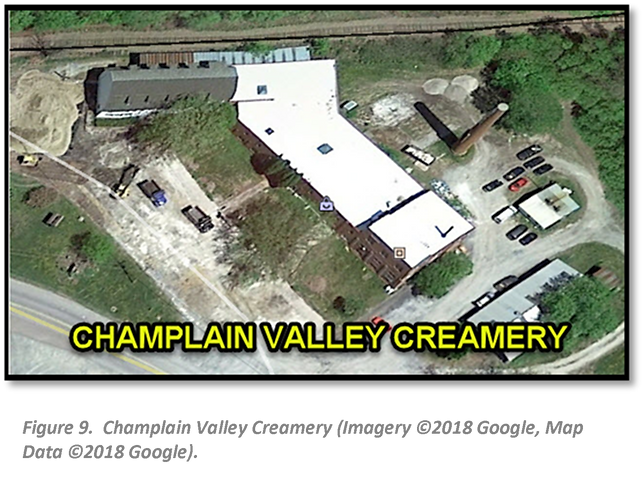 Figure 9.  Champlain Valley Creamery (Imagery ©2018 Google, Map Data ©2018 Google).