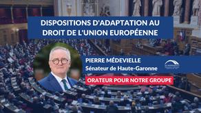 Pierre MÉDEVIELLE : Dispositions d'adaptation au droit de l'Union européenne dans plusieurs domaines