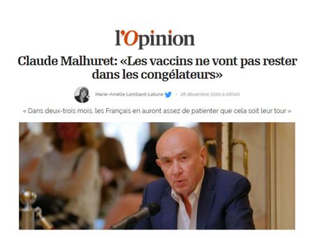 """L'Opinion - Claude Malhuret : """"Les vaccins ne vont pas rester dans les congélateurs"""""""