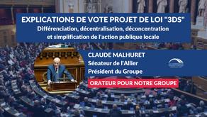 Claude MALHURET : Explications de vote - Projet de loi 3DS - différenciation, décentralisation ...